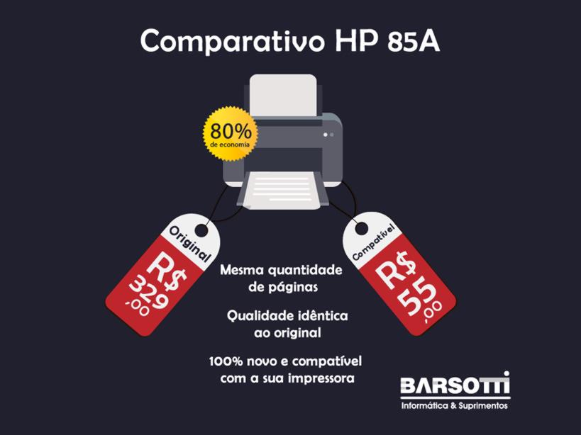 Comparativo HP 85A Compatível