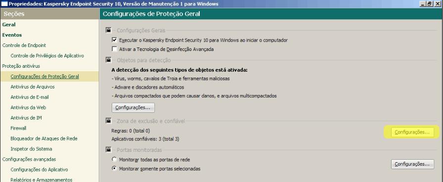 Kaspersky - inserindo aplicativo na lista de confiáveis